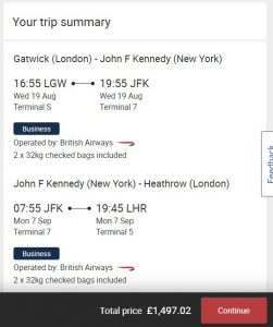BA Business Class flights to New York from less than £1,500 return