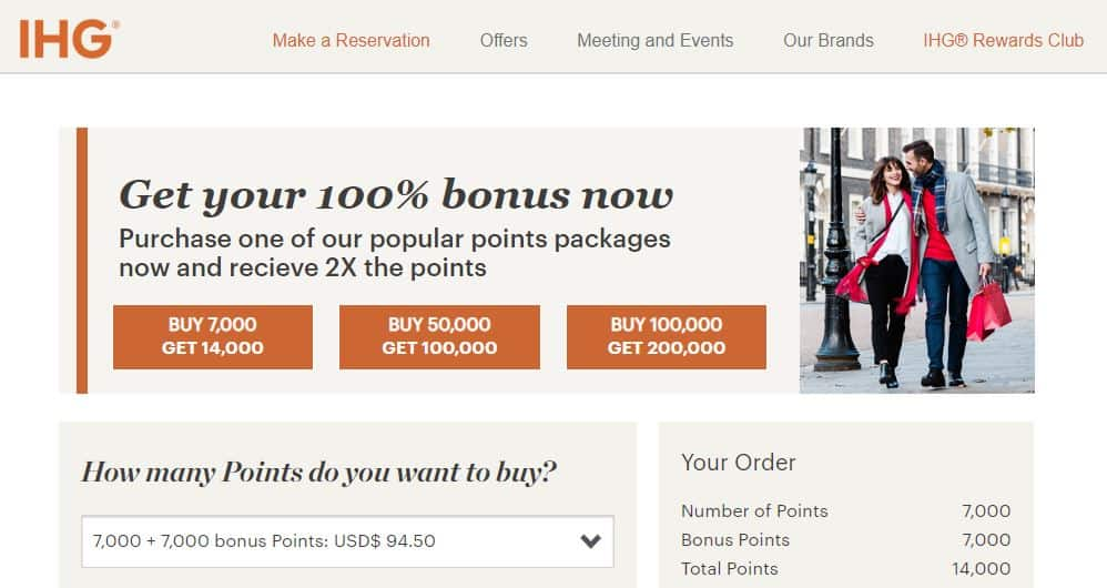 IHG 100% Bonus Points