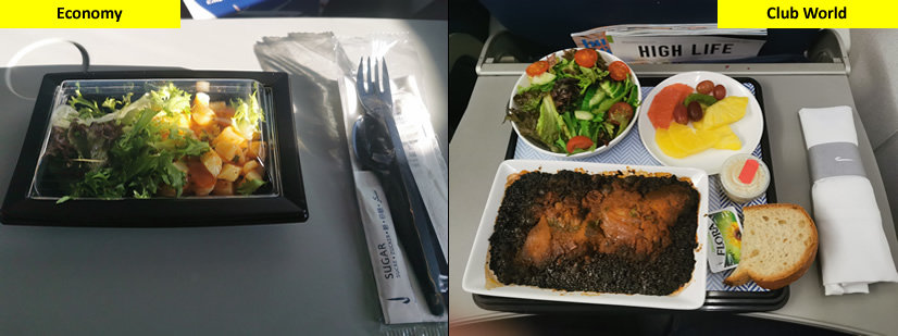 BA Club World Meal vs Economy Meal on Short Haul