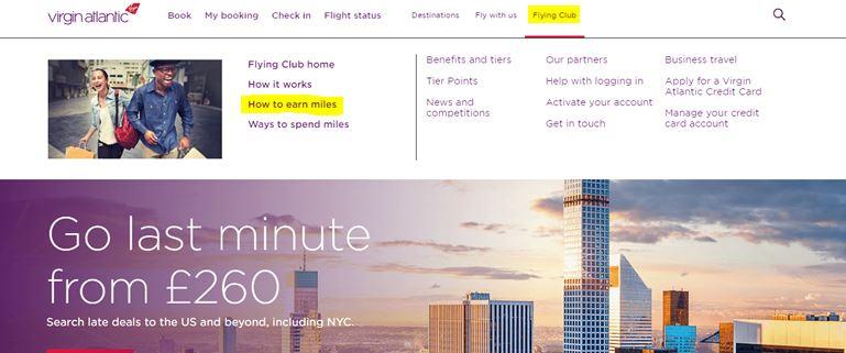 How to earn Virgin Flying Club airmiles