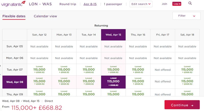 Virgin Flying Club Miles need for Upper Class