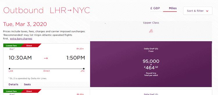 Virgin Atlantic Flying Club Miles Needed for New York
