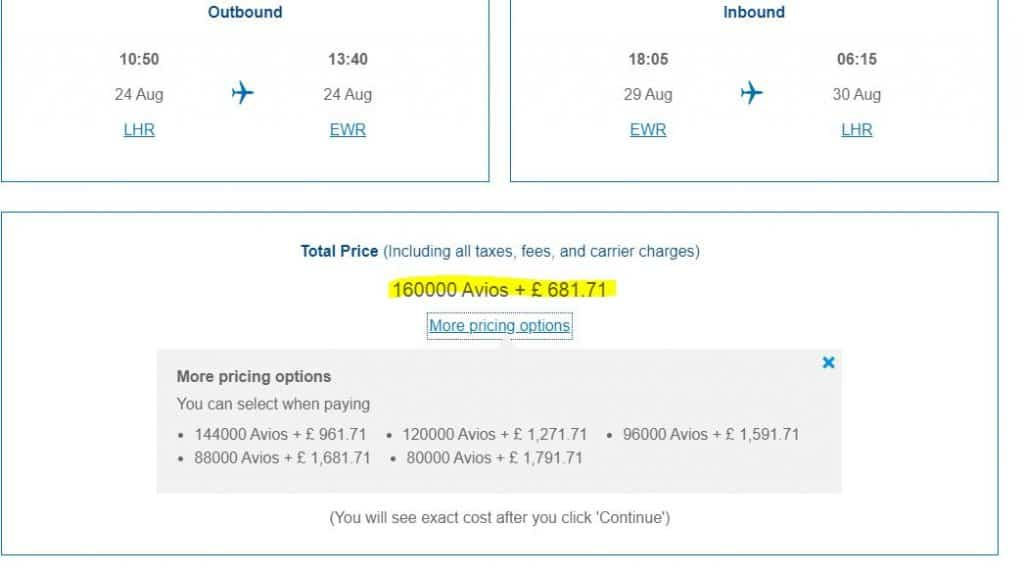 The price to fly to New York in First Class from London using airmiles for one