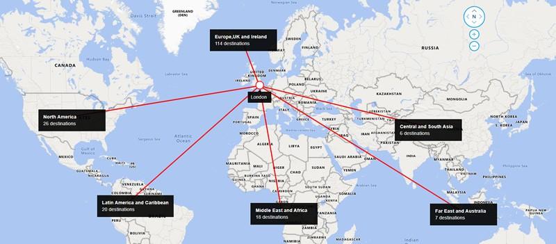 British Airways Route Map