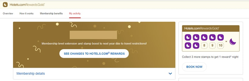 My Hotels.com Gold Rewards Membership