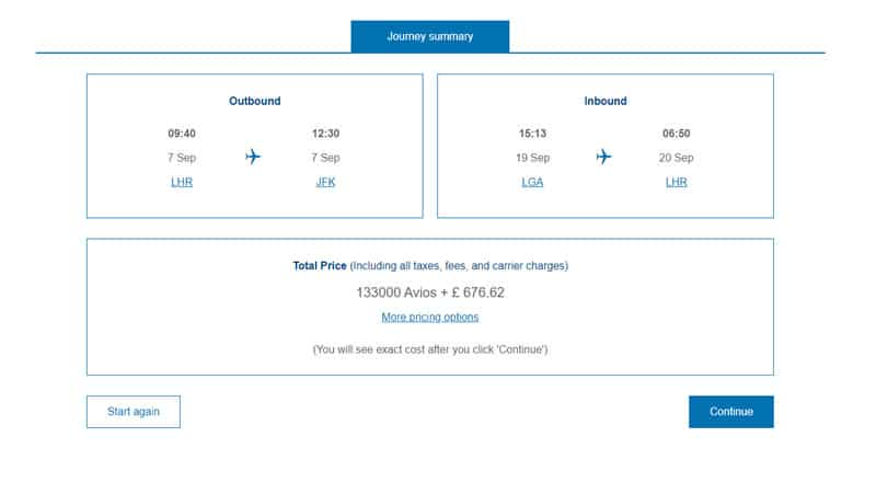 Quote for cheap first class flight from BA
