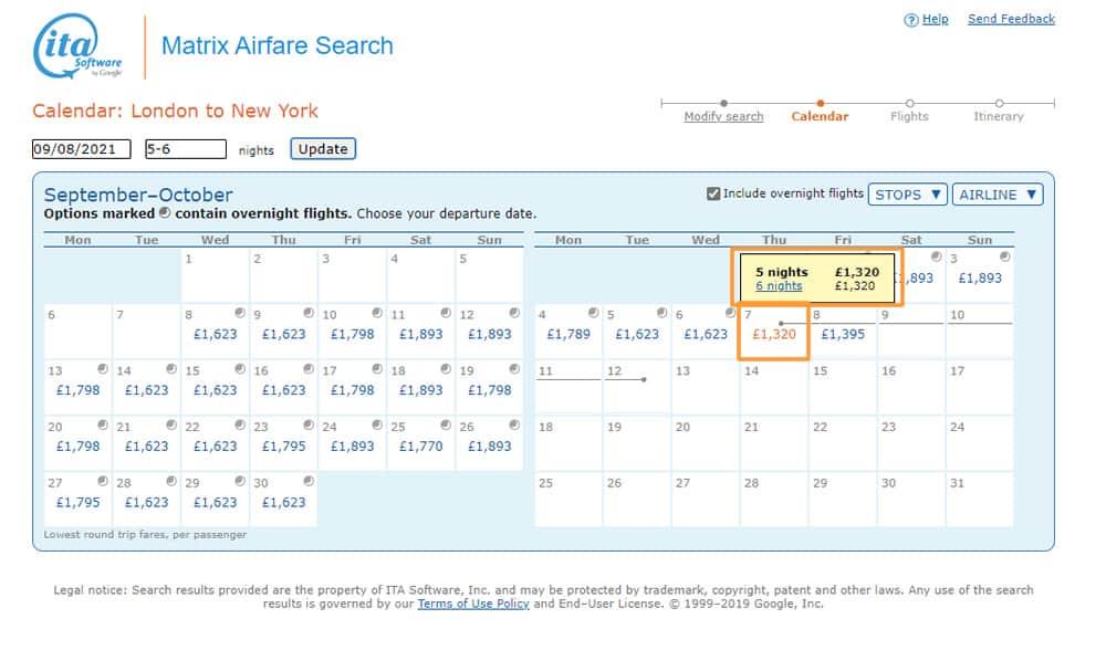 Cheapest Flight on ITA Matrix