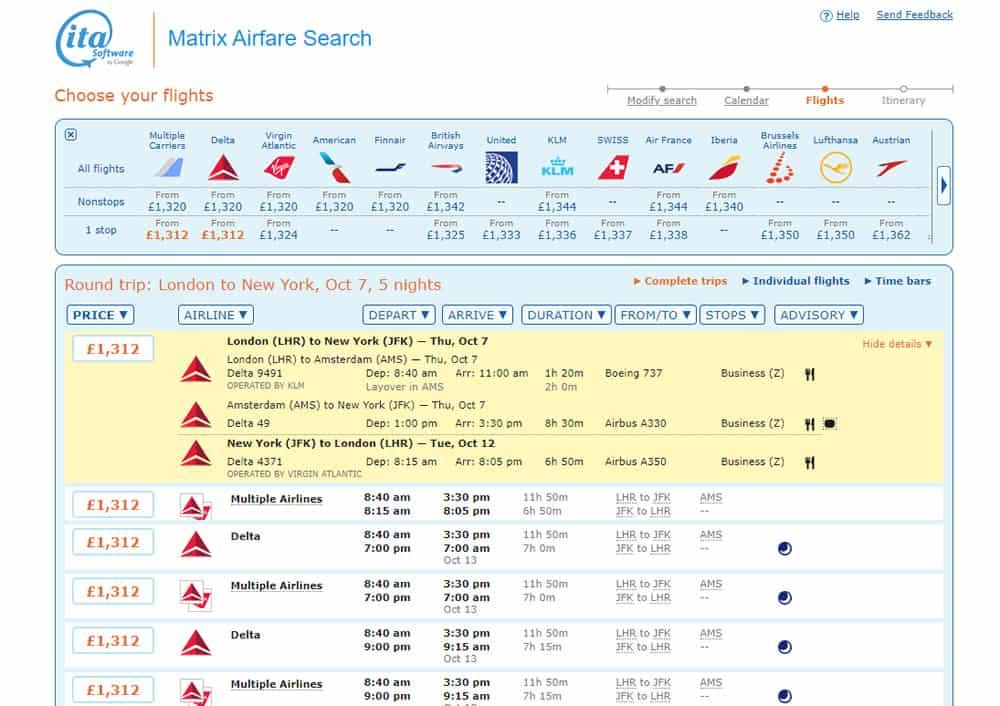 Flight Details on ITA Matrix