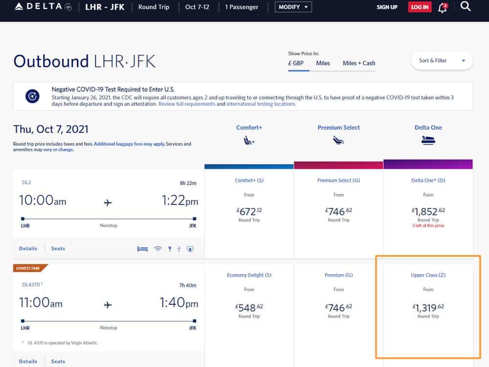 Flight Results Via Airline