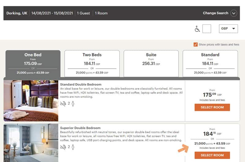 IHG Points and Cash Booking