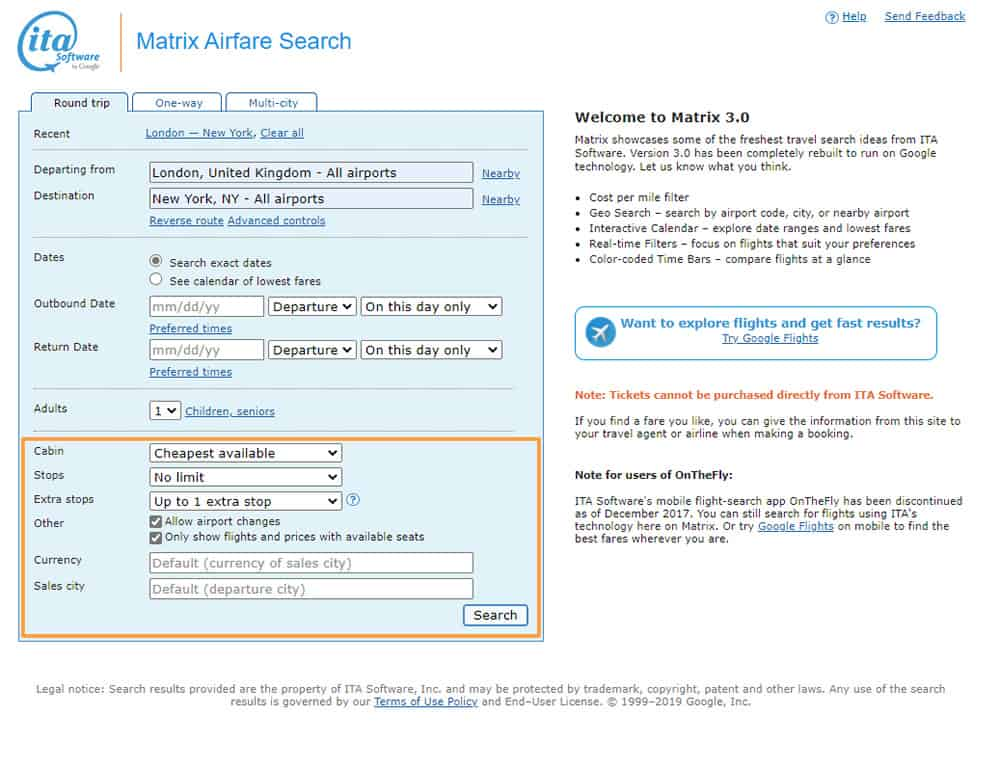 ITA Matrix Extra Flight Searches