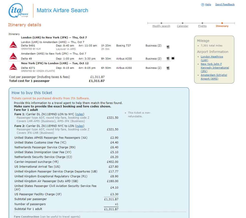 ITA Matrix Flight Results