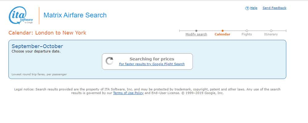 ITA Matrix Search