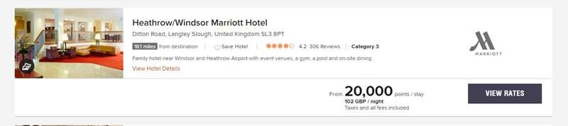 Marriott 20000 Point Reward Night