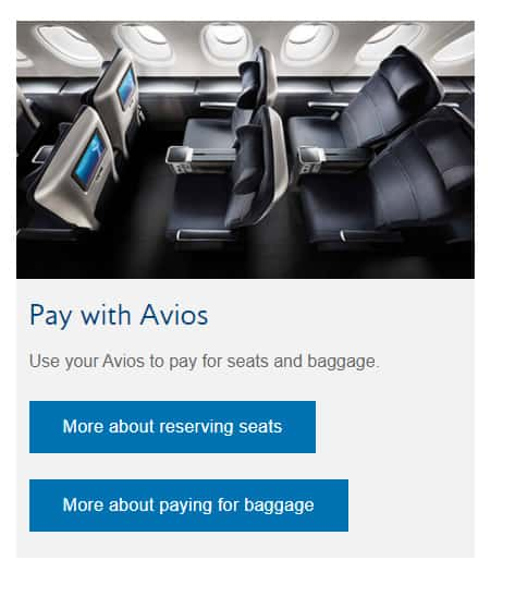 Seat and Baggage with Avios
