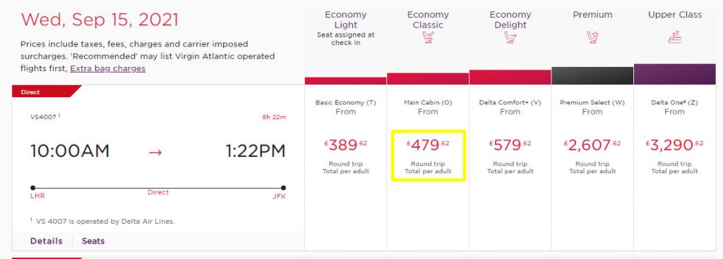 Virgin Flights to New York in Economy with Cash (Comparison)