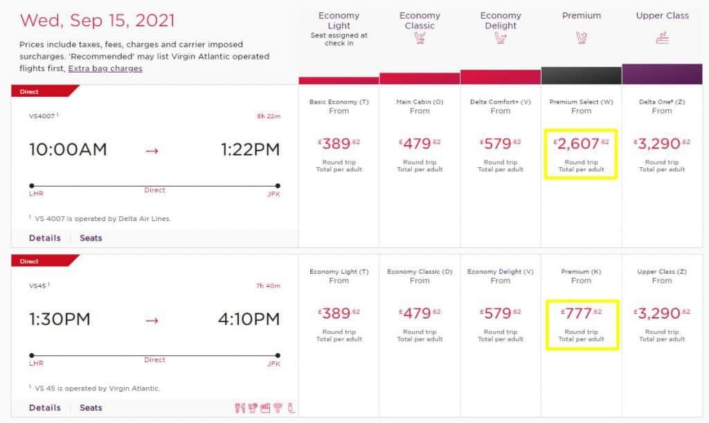 Virgin Flights to New York in Premium Economy with Cash (Comparison)