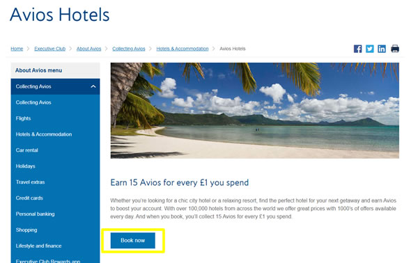 Avios Hotels Book Now