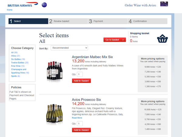 Wine available to buy with Avios