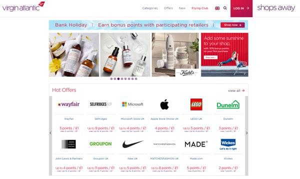 Shops Away Portal to help earn cheap Virgin flights